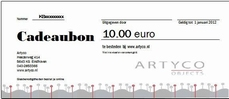 1. Cadeaubon waarde 10 euro