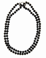 Big Charms- pearl necklace with shortener, 95 cm - black