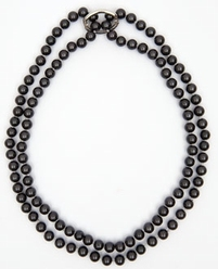 Big Charms- pearl necklace with shortener, 95 cm - grey