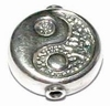 Silver bead to place between glass - Yin Yang  17,5 x 6 mm